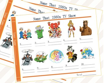 Game - Party - Digital Download- Name That 1980 TV Show - Fun - TV - Kids- Cartoons - Classic - Theme - 1980s - Adult- Baby Shower