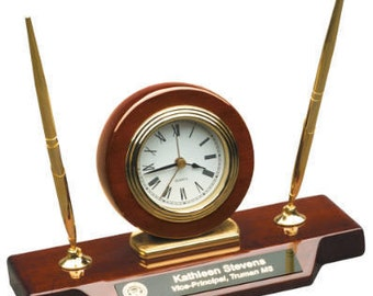Piano Finish Desk Clock on Base with 2 Pens, Teacher Gift, School, Office, Desk, Principal Gift, Corporate Award, Desk Clock