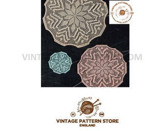 1930s crochet floral doily -  3 sizes - large medium and small - Vintage PDF Knitting Pattern 623