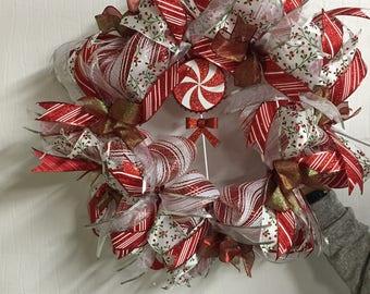 Red and White Pinwheel Wreath