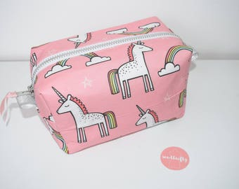 Unicorn Fabric - Waterproof Lining - YKK Zipper - Box Pouch - Wash Bag - Travel Accessory - Easter Gift - Spring Present - Unicorn Gift