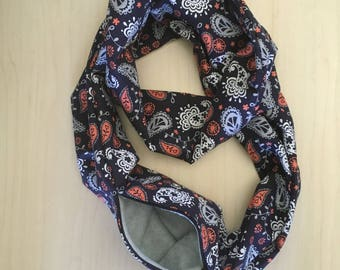 Sugar Glider Bonding Scarf Double Loop - Sugar Glider Bonding Pouch - Rat Bonding Pouch - Bonding Pouch - Blue Paisley