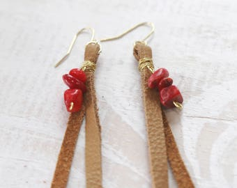 Coral + Reclaimed Leather Earrings