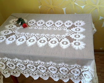 Vintage tablecloth, square tablecloth, floral tablecloth, vintage valentine decor, retro tablecloth, heart tablecloth
