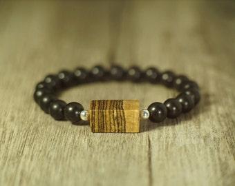 Ebony beaded bracelet, Bocote wood, Wood bracelet