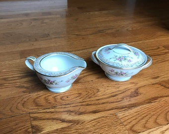 """Noritake """"Somerset"""" Creamer and Sugar Bowl with Lid!!! Both in Mint Condition!!!"""