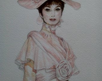 Mothers Day gift,Original Painting of Audrey Hepburn, Watercolour, legendary icon, My Fair lady, 14 x 11 white mount, movie star, room decor
