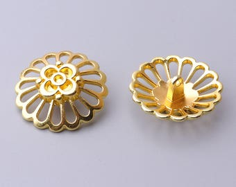 6pcs 29mm large gold button metal button flower button shank button coat button