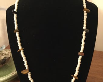 "20"" handmade white glass beaded necklace accented with polished stones and brass seahorse pendant"