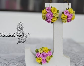 Rose earrings Polymer clay Earrings and a ring from a polymeric clay Flower earrings Flower ring Romantic gift