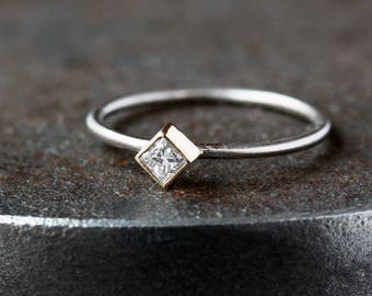 Princess Cut Diamond Ring, Square Diamond Ring, Unique Engagement Ring, 14k Yellow and White Gold Mixed Metal Ring, Ethical Conflict Free