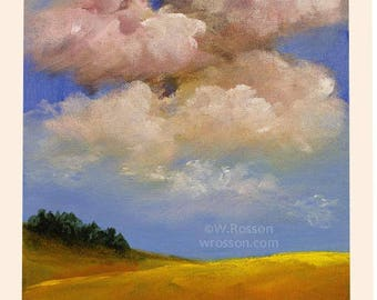 Golden Hills, Clouds, Blue Sky, Trees, Original Art, Landscape Painting, Winjimir, Home Decor, Office Art, Wall Art, Gift, Pink Clouds, 8x10