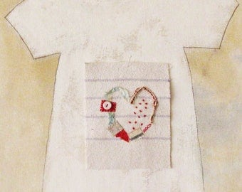 Small art quilt, prim style, heart, hand stitched, love