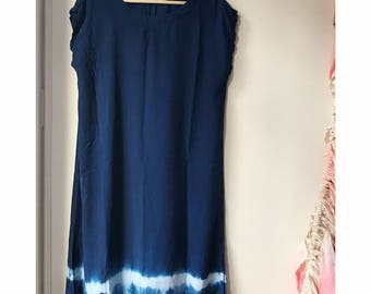 Indigo Dyed Rayon Dress in Deep Waves, Black and White, Anna Joyce, Portland, OR