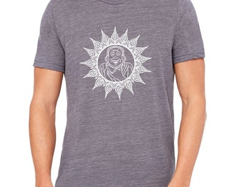 Happy Buddha Men's Graphic Tee Shirt, Hand Printed, Asphalt Grey Cotton Blend Slub,  Crew Neck, Gift for Men,