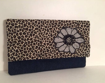 Animal print Fold over Cotton Clutch