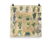Cacti Succulent, House Plant, Archival Poster Print of Plants, Heart Leaf Fiddle Stand Jade Snake Plant Sago Zee Zee Cactus Spider Aloe Vera