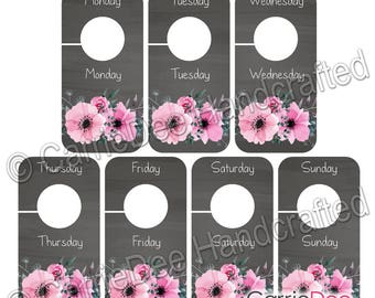 PRINTABLE Days Closet Dividers, Kids Days of the Week Dividers, Rustic Pink Floral, Instant Download, Girls Closet Organizers, ID001-CBD