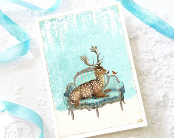 Deer Christmas card, deer card, reindeer holiday card, white Christmas, blank card
