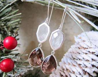 Icewine - Rock Crystal and Wine Faceted Glass Earrings