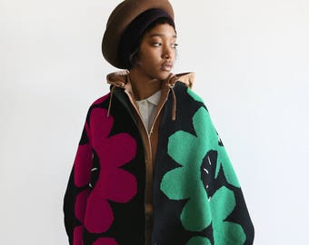 The Buggaboo Collection 18 - He Loves Me, He Loves Me Knot Scarf (mixed red and green) in recycled cotton.