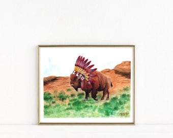 American Buffalo Watercolor Painting, Bison Art Print, Bison Watercolor, American Buffalo Print - 8 1/2 x 11 Wall Art, Western Home Decor