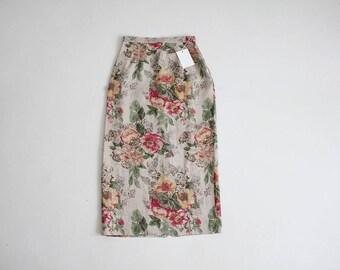 floral linen calf skirt | linen floral skirt | high waist linen skirt