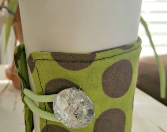 Olive Green with Brown Polka Dot with a Hint of Sparkle Button Java Jacket/Coffee Sleeve
