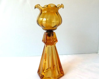 """Amber Glass Candleholder- Ruffle Top Votive Cup Peg- Gold Candlestick Holder- Ribbed Candle Holder- Crimped Edge Votive Taper- Xmas Decor 9"""""""