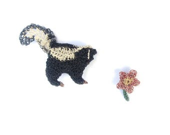 Skunk and flower brooches - animal jewelry, crochet wire, animal brooch, jewellery broach