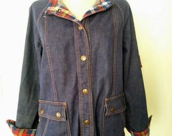 70s Jean Jacket / 70s Dark Denim Jean Jacket / Classic Vintage Jean Jacket Sm