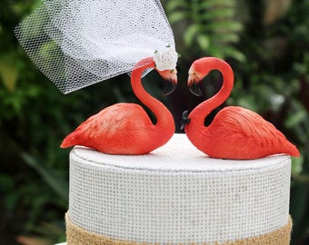 New! Pink Flamingo Wedding Cake Topper: Hand Painted Love Bird Cake Topper