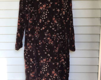 60's Floral Velvet Mandarin Dress