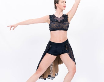 Gorgeous Navy and Nude Lyrical 2 Piece Costume