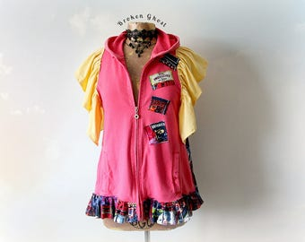 Mori Girl Top Boho Chic Hoodie Up Cycled Recycled Hooded Jacket Ruffle Sleeves Shabby Chic Clothes Artsy Clothing Loose Fit Hoodie M 'GEMMA'