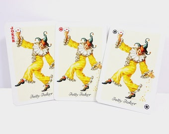 3 Jolly Joker Vintage Playing Cards / Yellow Clown Jester / Mid Century Individual Game Cards / Paper Ephemera Collectibles
