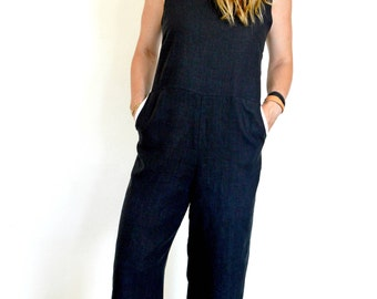 Women's Black 100% Natural Linen Jumpsuit/ Romer with Naturally Dyed Blush Pink Pockets.