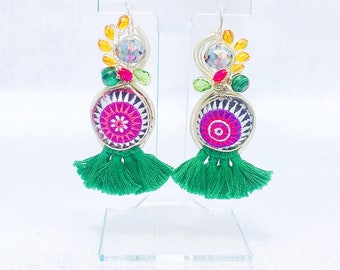 Fringe, Textile and Beaded Earrings (Super Lightweight!)- Montanita