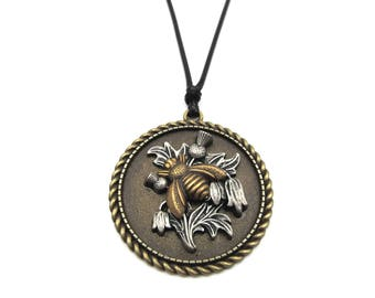 NEW Antique Bronze Pewter Thistle Bronze Plated Brass Bumble Bee Black Cord Pendant Necklace (BRNK121)