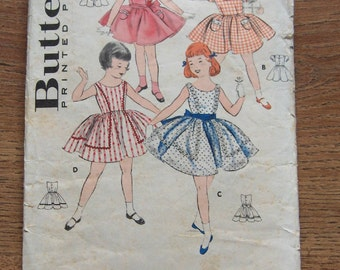 vintage 50s butterick sewing pattern girl toddlers dress yoke collar puff sleeves or sleeveless sz 2
