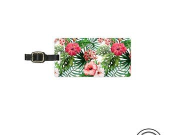 Luggage Tag Tropical Fern Hibiscus Summer Floral Personalized Metal Luggage Tag  With Printed Custom Info On Back, Single Tag