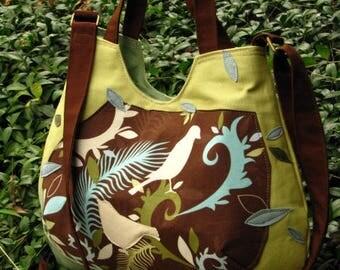 """Vegan, Eco-Friendly shoulder bag, Bird Purse, Bird Tote, adjustable 60"""" strap, 4 Open Pockets & Large Inside Pocket, Back Pocket"""