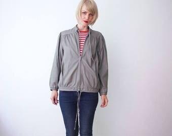 80s leather jacket. taupe leather jacket unisex. slouch leather jacket - medium