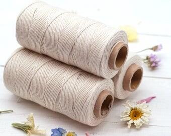 Organic Cotton Cord,  1mm, Approx 410 feet,  Natural Macrame Cord,  Bakers Twine, Organic Craft Twine