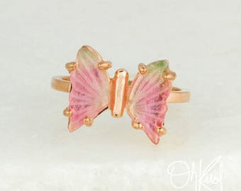 Baby Pink & Light Green Watermelon Tourmaline Butterfly Ring - Natural Tourmaline - Summer Jewelry