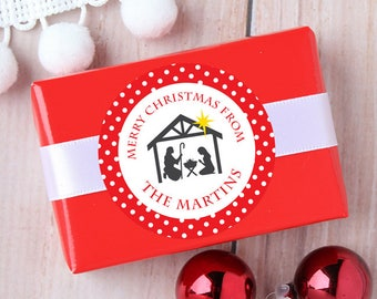 Christmas Stickers - Personalized Gift Labels - Nativity Scene - Sheet of 12 or 24