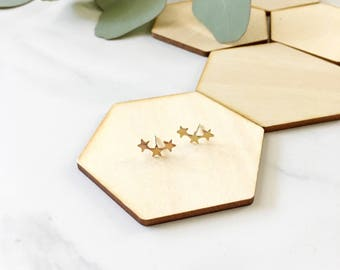 Star Climber Earrings, studs, posts, stars, planets, celestial, sky, zodiac, jewelry under 20, gift, constellation, astrology, gold