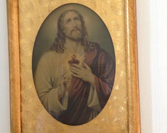 Vintage Jesus Sacred Heart FOIL LITHO Jesus Seeking To Enter Your Home 1930's The Religious Fine Art Company KNOXVILLE