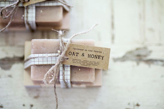 OAT & HONEY Soap   | Oatmeal, Cream, Honey Soap Bar, Moisturizing Soap, Bar Soap, Rustic Gift, Wedding Favor, Gift Set, Wooden Holder