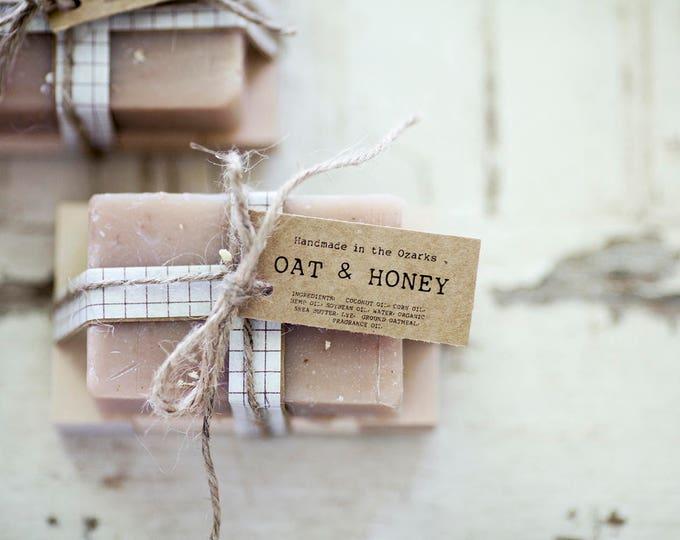 OAT & HONEY Soap | Oatmeal, Cream, Honey Soap Bar, Moisturizing Soap, Bar Soap, Rustic Gift, Wedding Favor, Gift Set, Wooden Holder